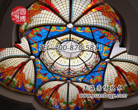 不规则花瓣状室内彩色玻璃穹顶