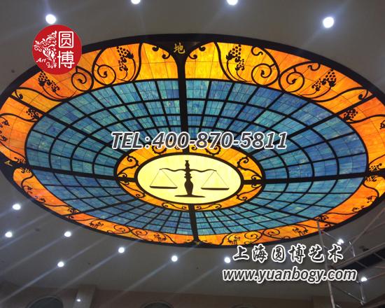 室内大型椭圆穹顶彩色玻璃穹顶