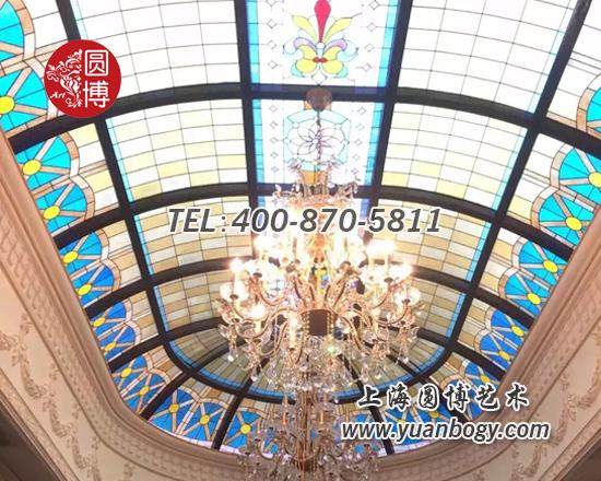 杭州欧式别墅彩色彩绘玻璃穹顶项目