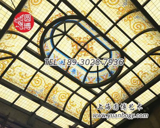 双曲钢弯异型彩色玻璃彩绘玻璃穹顶