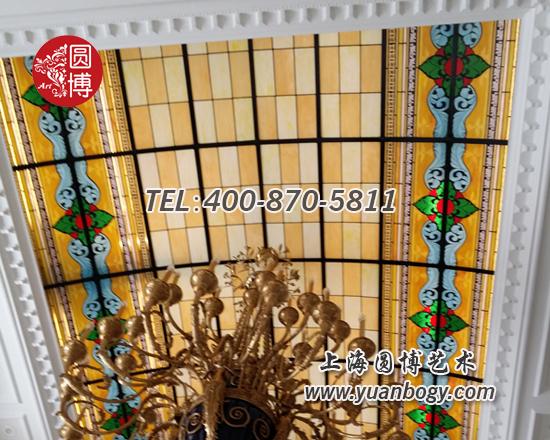 天马高尔夫别墅彩色彩绘镶嵌玻璃穹顶